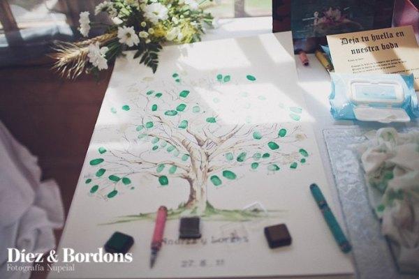 arbol de huellas con instrucciones boda