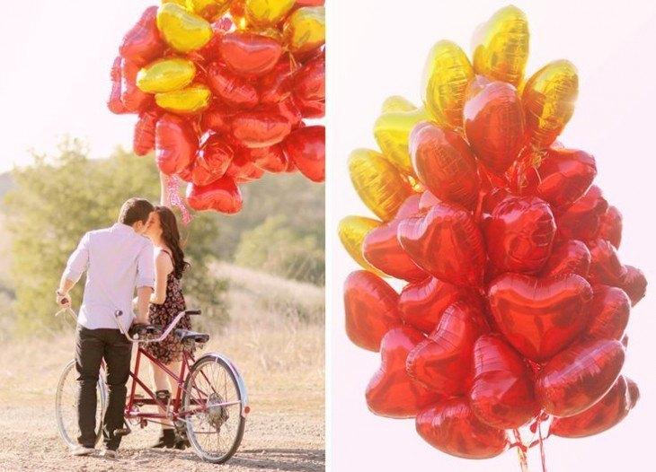 pre boda inspirada en San Valentin bicicleta con globos