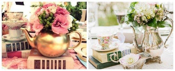 Decorar tu boda con teteras y flores