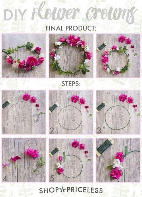 como hacer una corona de flores artificiales