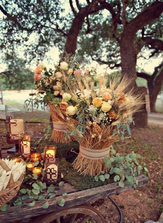 decoración de bodas rusticas flores silvestres y trigo - Ideas para la Decoración de Bodas Rústicas
