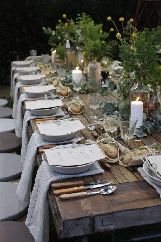 decoración de bodas rusticas mesa puesta - Ideas para la Decoración de Bodas Rústicas