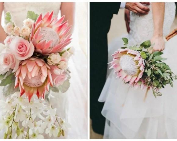 ramos de novia con proteas