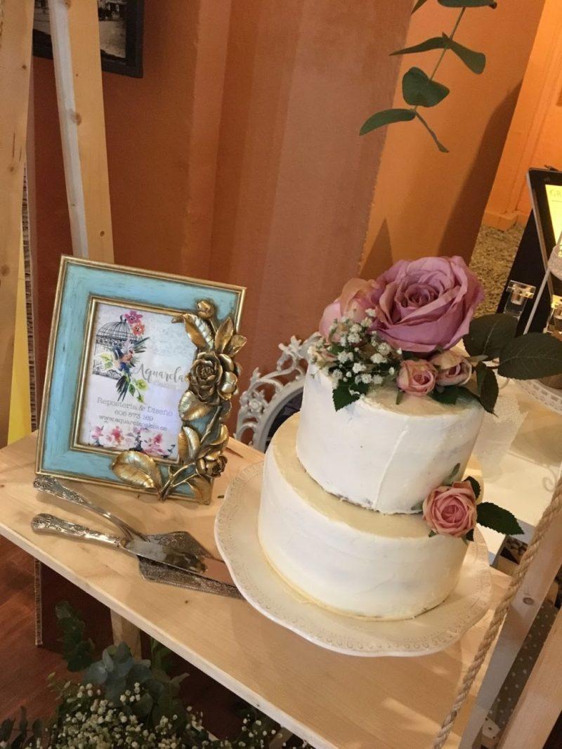 tarta para boda con flores