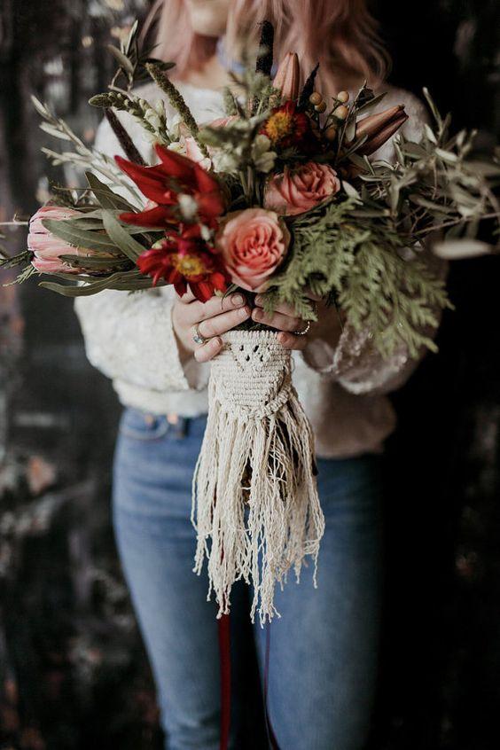 Macrame ramo de flores - Inspiración con Macramé para Bodas Bohemias