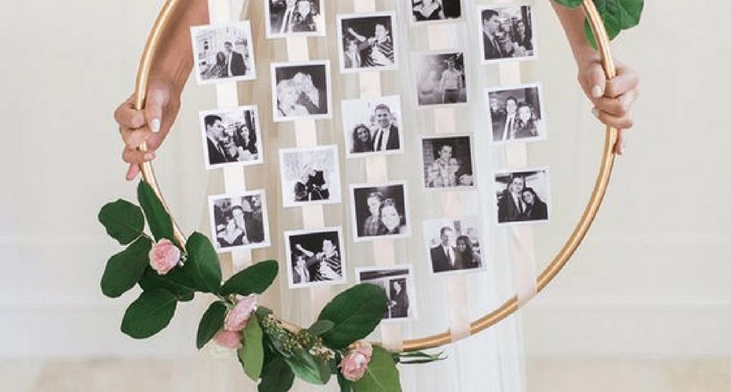 Aro floral con fotos DIY