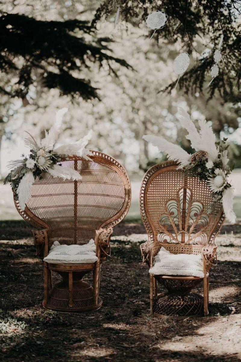 cómo decorar una boda bohemia: la ceremonia