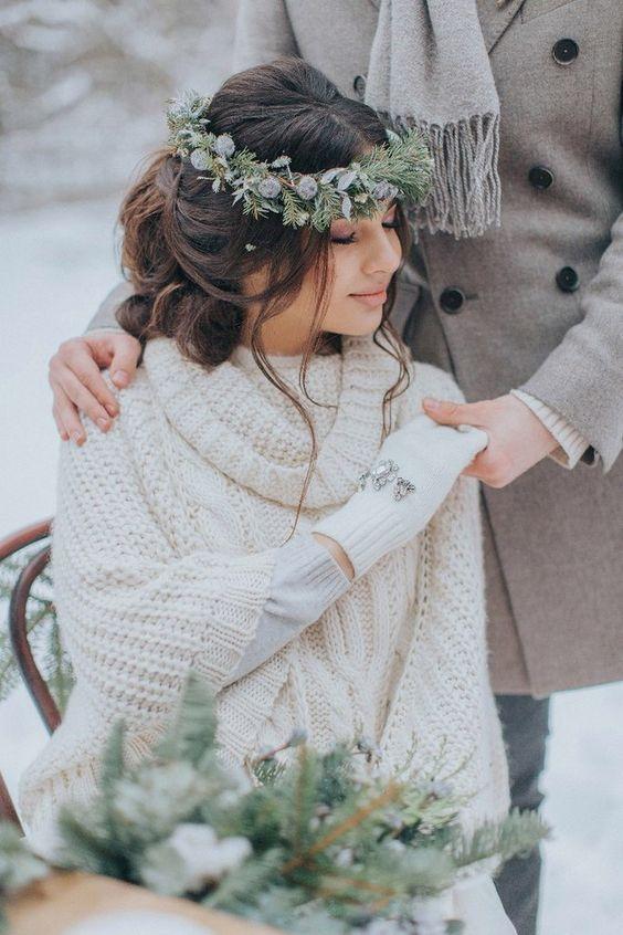 look de novia de invierno con guantes