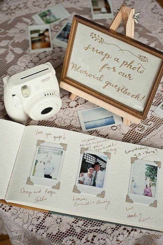 libro de firmas con fotos polaroid - Decoración con Fotografías Polaroid