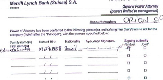 assinatura de cunha na conta da suíça