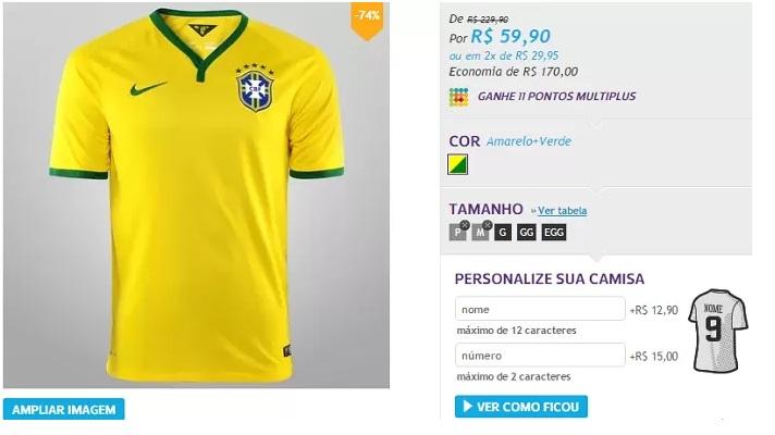 46d7edc3ff14a DESVALORIZADA  Site diminui o preço da camisa da seleção brasileira ...