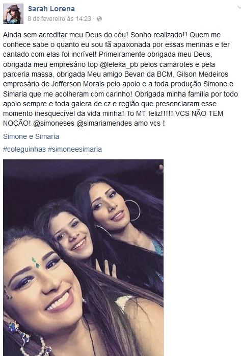 Postagem do Facebook de Saerah Lorena