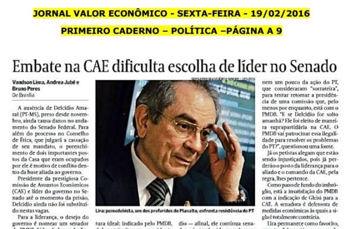 Jornal destaca preferência do senador paraibano para liderança do governo