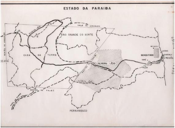 Mapa Original de Wilson Seixas sobre as vias de penetração no sertão da Paraíba e seus limites territoriais