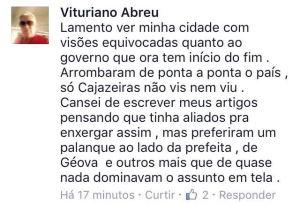 Postagem de Vituriano na página do Facebook