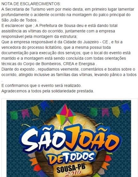 Nota de Esclarecimento divulgada pela Prefeitura de Sousa