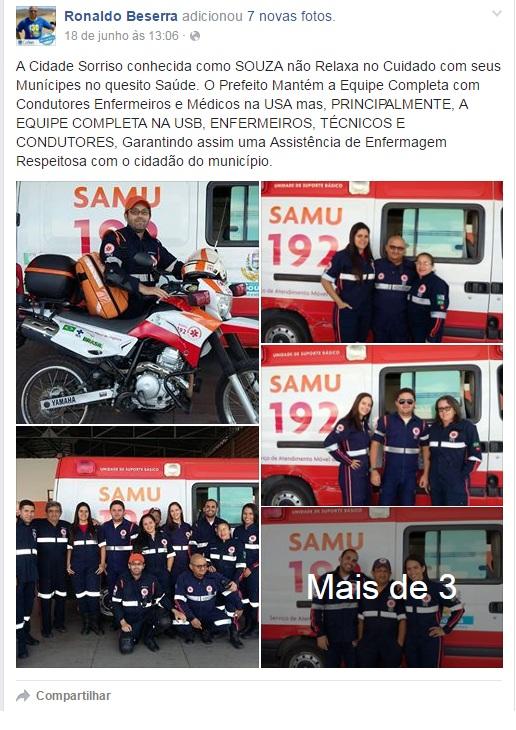 Presidente do COREN parabeniza equipe do SAMU de Sousa (Foto: Facebook)