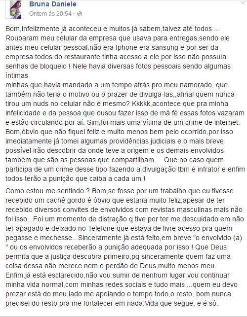 Postagem de Bruna nas redes sociais
