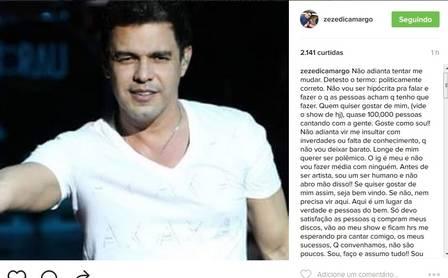 Zezé desabafa após crítica a Safadão (Foto: Instagram)