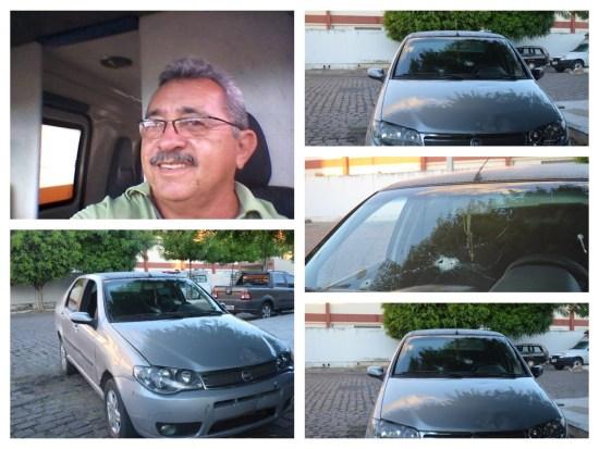 Na foto-montagem, a vítima dos disparos e o seu veículo (Crédito: Ângelo lima)