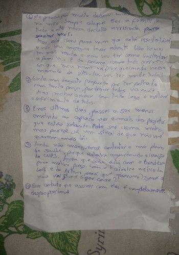 Carta encontrada dentro da casa das vítimas (Foto: Agência O DIA)