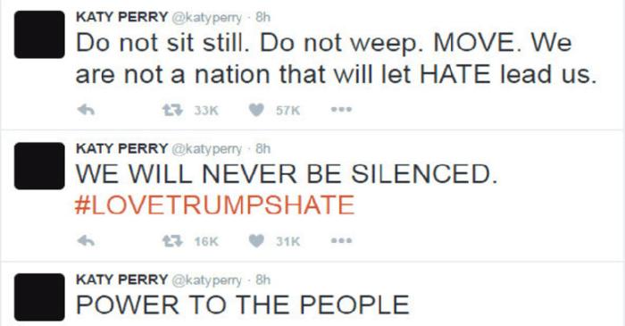 """AnteriorKaty Perry foi uma das cantoras que mais apoiaram a candidatura de Hillary e ela também deixou sua mensagem no Twitter: 'Força ao povo', 'nós nunca vamos nos calar' e 'não fique parado. Não chore. Mexa-se. Não somos uma nação que deixará o ódio nos liderar' Próxima Katy Perry foi uma das cantoras que mais apoiaram a candidatura de Hillary e ela também deixou sua mensagem no Twitter: """"Força ao povo"""", """"nós nunca vamos nos calar"""" e """"não fique parado. Não chore. Mexa-se. Não somos uma nação que deixará o ódio nos liderar"""""""