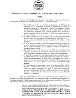Nota do Fórum das Entidades das Polícias Civil Militar e Bombeiros