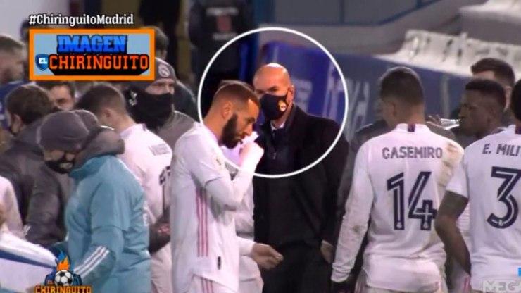 Zinedine Zidane, en silencio antes de la prórroga contra el Alcoyano