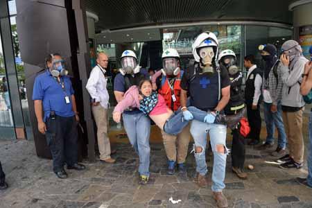 40 HERIDOS POR LACRIMÓGENAS EN EL SAMBIL. Médicos de la Cruz Verde prestaron los primeros auxilios a las personas afectadas por los gases lacrimógenos en el día de ayer en el centro comercial ubicado en Chacao.