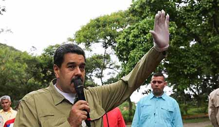 El presidente Maduro mientras informaba de la situación