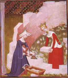Mujeres albañiles construyendo los muros de la ciudad. Collected Works of Christine de Pisan Cié des Dames. Ms. Harley 4431, f. 290. Francia, siglo XV (British Library, Londres)