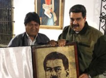 Evo Morales acompanhou posse de Maduro. Foto: Twitter de N Maduro