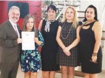 Duque, Denise, Monica, Edicleia e Sônia, durante a posse. Foto: Divulgação
