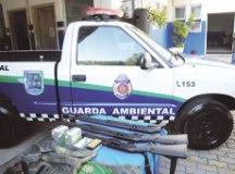 Guarda Ambiental conta com duas S10 e armas de grosso calibre. Foto: Thiago Benedetti/PMD