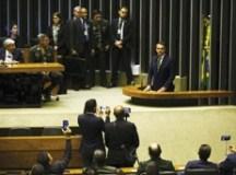 """""""Deputados, senadores, nós juntos poderemos, sim, mudar o destino do Brasil"""", disse o presidente Jair Bolsonaro. Foto: Marcelo Camargo/Agência Brasil"""