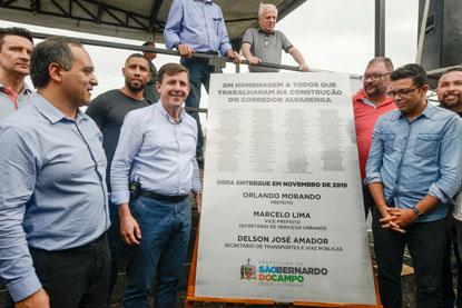 Orlando Morando inaugura novo trecho do corredor Alvarenga