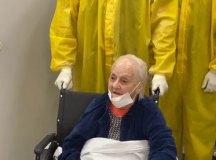 Sra Luiza Penado Campoi, 103 anos, uma das pacientes recuperadas e residente do Lar Nossa Senhora das Mercedes. Foto: Divulgação/PMSCS