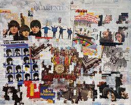 """Obra """"Past Masters"""" de Jessica Diskin. Técnica mista com colagens com quebra cabeça Beatles, jornal, tinta acrílica e spray. Foto: Divulgação"""
