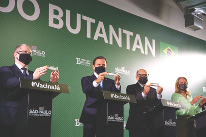 """Doria: """"Hoje é um dia muito importante para o Brasil, os brasileiros, a saúde e a vida. A vacina do Instituto Butantan tem eficácia de 78% a 100% contra a covid-19"""". Foto: Governo do Estado de SP"""