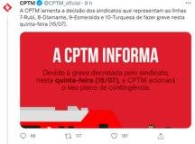 Pelo Twitter, a CPTM informou a usuários que o Plano de Apoio entre Empresas em Situação de Emergência (Paese) não será acionado. Foto: Reprodução Twitter