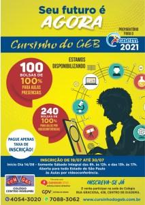 Cursinho do GEB oferece 340 bolsas de estudos para preparação ao Enem 2021