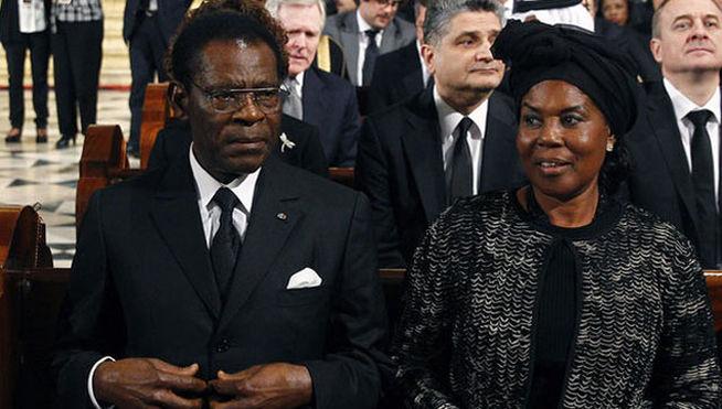Teodoro Obiang Nguema Mbasoogo y su esposa Constancia Mangue Nsue