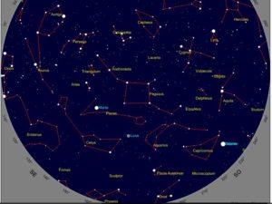 Mapa estelar con la localización del evento celeste.