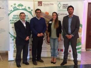 Ricardo Cereceda (Empresa consultora PROQUILAB), Michel de Laire (Procobre Chile), Iris Wunderlich (CAMCHAL- Proyecto Smart Energy Concepts), Julio Ovalle (AChEE – Proyecto Smart Energy Concepts).