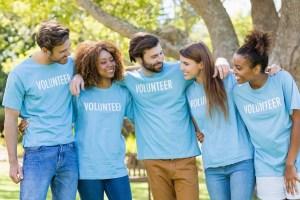 Group of volunteer having fun