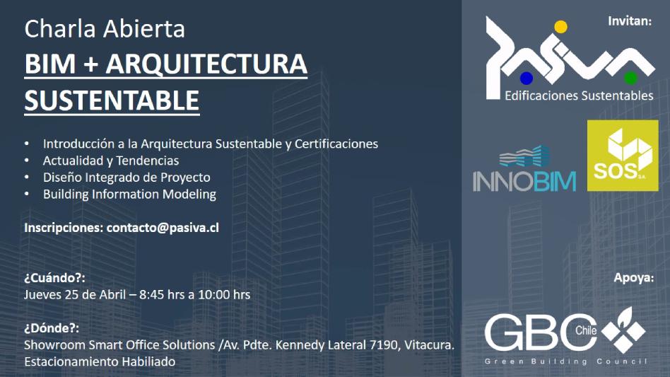 Pasiva organizará charla abierta sobre BIM y Arquitectura Sustentable