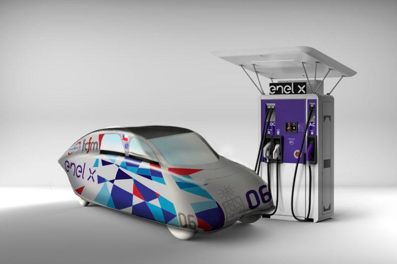 """Auto solar """"Eolian Áuriga-Enel X"""" será el primero para 4 pasajeros en Latinoamérica gracias a acuerdo entre Enel X y Universidad de Chile"""