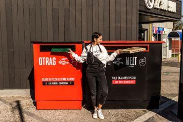 ¿Cómo reciclar las cajas de pizza?:  implementan puntos limpios con contenedores de reciclaje en 5 locales de Melt pizzas