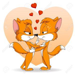9527713-Ilustraci-n-vectorial-Dos-dibujos-animados-lindo-cayendo-en-fox-de-amor-Foto-de-archivo
