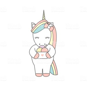 cute cartoon vector illustration with colorful unicorn with ice cream